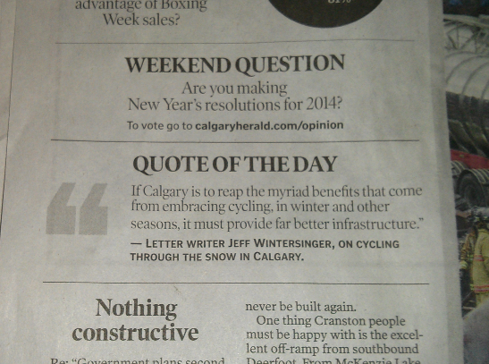 The Calgary Herald's quote of the day.
